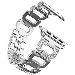 Aottom pour Apple Watch 38mm Bracelet,Bracelet Acier Apple Watch Argent Bracelet iWatch Apple Watch Series 2 Bande Apple Watch Series 1 Or Rose Smartwatch Accessories pour Apple Watch Series 3/2/1