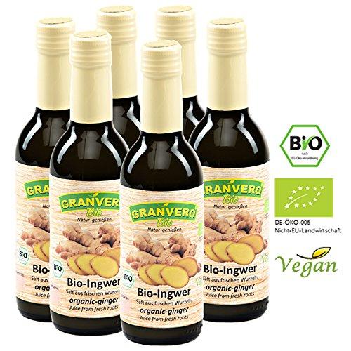 GRANVERO, Bio Ingwer-Saft, (Direktsaft) 99% Ingwer, 250 ml, 6 Flaschen,