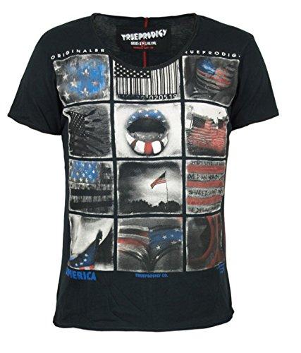 trueprodigy Casual Herren Marken T-Shirt mit Aufdruck, Oberteil cool und stylisch mit Rundhals (kurzarm & Slim Fit), Shirt für Männer bedruckt Farbe: Schwarz 1053111-2999 Black