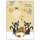 1 süße Babykarte: Mit niedlicher Katzen FamilieAlles Liebe zur Geburt!