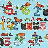 Hellblauer Baumwollstoff mit bunten Zahlen und Tieren