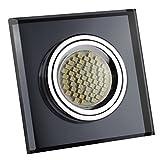 LED Einbaustrahler / Glas-Alu-Cristal / Spot / Einbauleuchte / Einbauspot / QUADRATISCH-SCHWARZ-118510 / GU10-230V (Warmweiß)