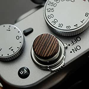 Soft Déclencheur en aluminium/ bois- Wengé (plat, 10mm) pour Leica M-Serie, Fuji X100, X100S, X100T, X10, X20, X30, X-Pro1, X-Pro2, X-E1, X-E2, X-E2S et tous les appareils photos avec la bouche filetage conique
