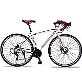 SIER Vélos de Route Course 27/30 Vitesses Freins à Disque Double poignée Droite vélo de Route Vitesse Hommes et Femmes vélo de Ville,Red,27...