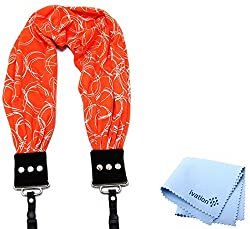 Capturing Couture Olivia Orange Scarf Super Comfortable Camera Strap and a Bonus Ivation Spot Cleaning Cloth