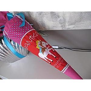 #158 Elfe auf Einhorn pink-rot Schultüte Stoff + Papprohling + als Kissen verwendbar