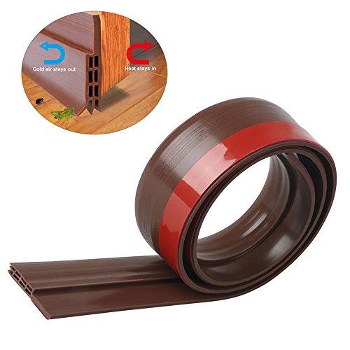 Dricar Burlete Bajo Puerta Exterior - Barrido de Puerta Silicona 1M Largo 3 Capas Flexibilidad Extrema para Reducir el sonido(Marrón)