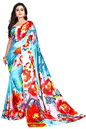 Nemi Agency Women's Multicolor Printed Casual Wear Georgette Saree With Blouse Piece(NAA174)