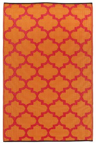 Fab Hab - Tangier - Orange Peel & Rouge Red Indoor Outdoor Rug/Mat (150 cm x 240 cm)