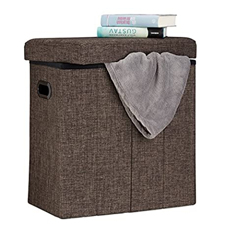 Relaxdays Folding Ottoman, HxWxD: 49.5 x 46 x 25.5 cm, with Storage, Foldable Footstool, Linen, Polyester, MDF,