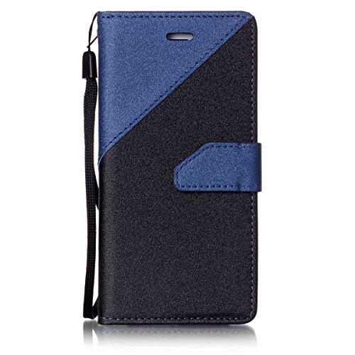iPhone 7Case, Case First due colori design PU pelle portafoglio Case Cover Flip Cover con Cinturino da Polso e Card Slot per iPhone 7 Dunkelblau + Schwarzes