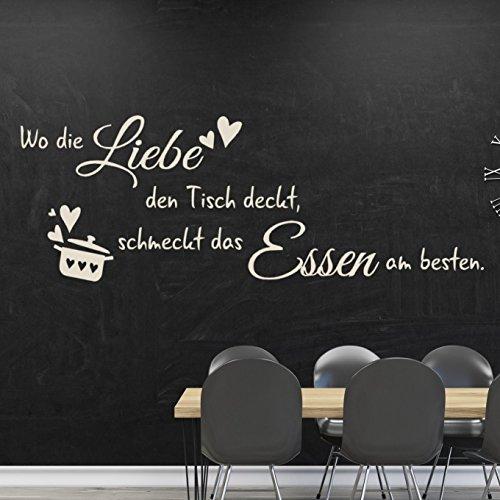 tjapalo® W-TK33 (B 100cm x H 34cm) Wandtattoo Küche Wandaufkleber kochen Esszimmer Wandspruch Spruch ~Wo die Liebe den Tisch deckt, schmeckt das Essen am besten.~ Wandsticker Aufkleber für die Wand Tapetensticker Fliesenaufkleber