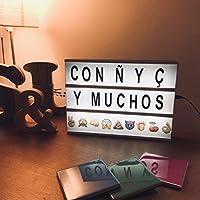 Caja de Luz LED A4 | 85 Emojis & 104 Letras con Ñ & Ç | Regalos originales para Decoración del Hogar