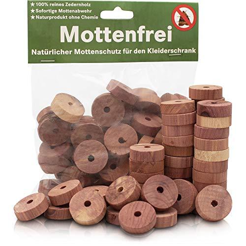 Fire & Flame Bio Mottenschutz für Kleiderschrank - effektiver Schutz gegen Motten aus Zedernholz - die natürliche Mottenfalle Kleidermotten - 50 Stück - Motten Kleider-falle