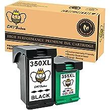 CMYBabee 2 Paquete Compatible HP 350XL 351XL 350 351 Cartuchos de tinta (1 Negro + 1 Color) Por Photosmart C4480 C4580 C4380 C4348 C4270 C4272 C4275 C4483 C5273