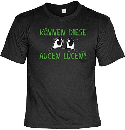 Lustiges Sprüche T-Shirt Weihnachtsgeschenk Können diese Augen lügen? witzig bedrucktes Funshirt Fun T-Shirt Geschenk T-Shirt Schwarz