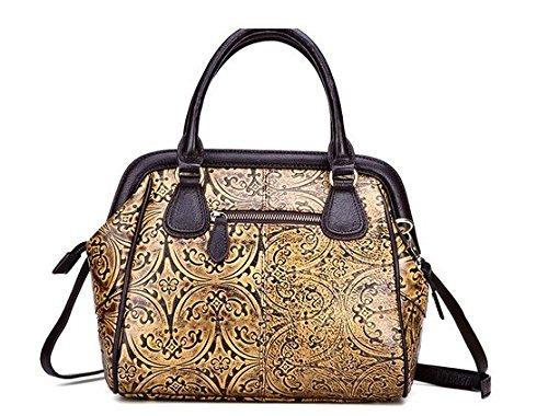 Otomoll Mode Leder Handtasche Geprägte Handtasche Schulter Messenger 8521 yellow