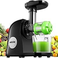 Aicok Entsafter, Slow Juicer Presse, BPA frei, Obst, Gemüse Saft, Elektronische Saftpresse automatisch, Saftbehälter, Kaltpressend, Saft Extraktion, Detox, Zubehör, Reinigungsbürste, Schwarz