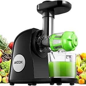 Aicok Estrattore di Succo a Freddo con Juice Jug e Spazzola di Pulizia, Spremitura Lenta Elettrico,Estrattore di Frutta e Verdura