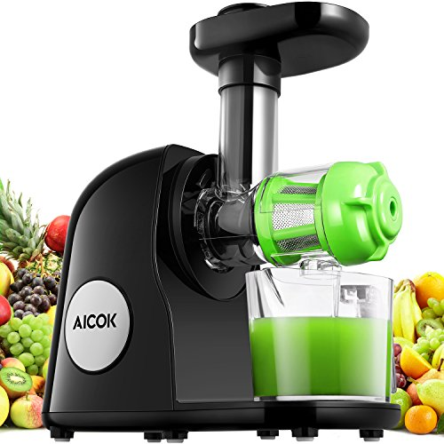 Aicok Extracteur de Jus Horizontal, Slow Juicer pour Jus de Fruits et Legumes Extraction Froide, Presse Agrume Multifonction & Silencieux à Haute Valeur Nutritive, avec Pichet et Brosse de Nettoyage inclus, Sans BPA, 150W, Noir