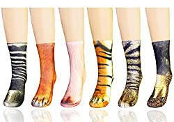 MYMYU 3D Socks Unisex Adult Big Kids Animal Paw Crew Socks - Sublimated Print Paw Print Tube Sock