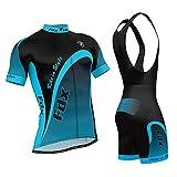 FDX Jersey Manches Courtes de cyclisme pour homme Top Racing Team VTT haut + Bavoir Short pour garçon Bleu Bleu x-large