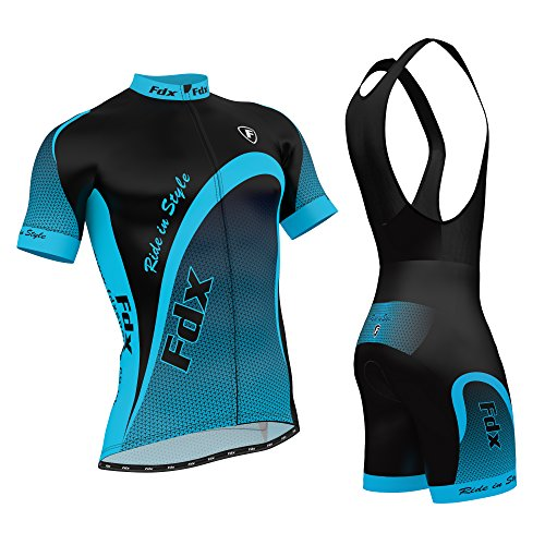 FDX Mens Cycling Jersey Half Sleeve Top Racing Team Biking Top + Bib shorts set (Blue, Medium)