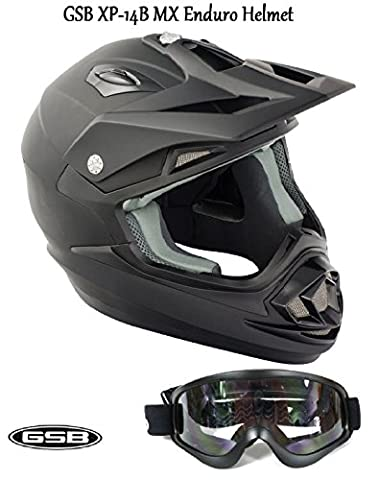 GSB xp-14b MX Moto Off Road adulte Casque de motocross de moto quad ATV Enduro sport ECE ACU application Casque Noir mat + Moto x1 pour masque de ski Noir