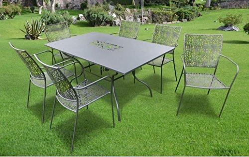 7-teilige Luxus Gartenmöbelgruppe 'Algiri schwarz' aus dem Hause Landmann Belardo