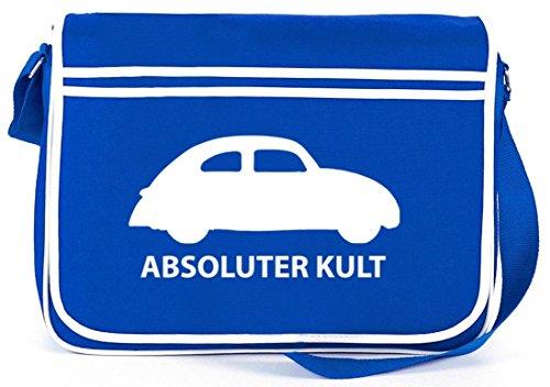 Shirtstreet24, ABSOLUTER KULT - AUTO, Retro Messenger Bag Kuriertasche Umhängetasche Royal Blau