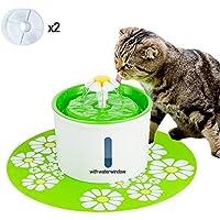 AOLVO Bebedero Automático Silencio con Ventana Visible, Fuente de Agua para Perros/Gatos, con 1.6L Circulante, 2 Filtros,1 Margaritas y 1 Estera de Silicona para Perros/Gatos Verde
