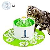 Aolvo Fontanella cat Pet Fountain1.6L cane Fontana per la circolazione degli animali domestici con finestra Fontana di acqua con 2 filtri, 1 fiori e 1 tappetino in silicone (verde)