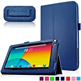 Infiland Premium Vegan Leather Case Cover for 9-Inch Android Tablet inclu. 9' Upgraded Dual Core Android Tablet PC, Haehne 9 Inch Android Tablet, JYJ 9 Inch Android 4.4 Kitkat Tablet PC, YONES 9' AMDROID 4.4 KITKAT TABLET PC, ProntoTec 9 Inch Touch Screen Tablet PC, Tagital T9X 9' Quad Core Android Tablet , TotalTab V3 9', Afunta 9', TabExpress 9' (PLEASE check the complete compatible tablet list under Product Description)(Navy)