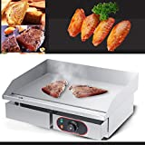 Cocoarm Elektro Griddleplatte Edelstahl Gastronomie Grillplatte Multifunktions Elektrogrill Bräter BBQ mit großenTellerfläche
