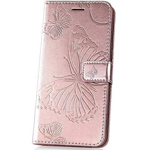 t Samsung Galaxy S10 Plus Hülle Leder Flip Case Tasche Schmetterling Handyhülle Kunstleder Brieftasche Wallet Schutzhülle Handytasche Magnetisch Kartenfach Ständer Etui,Rose Gold ()