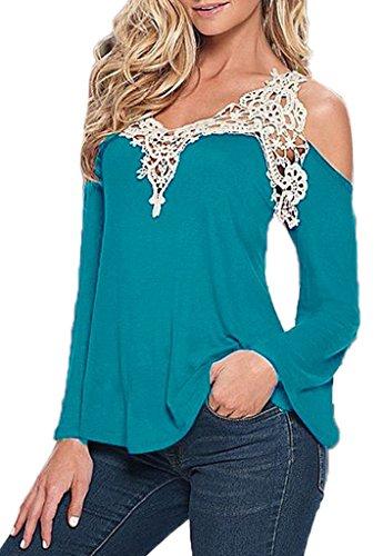 Bigood Femme T-shirt Manches Longue Sans Bretelles Blouse Dentelle Chemise Uni Bleu Clair