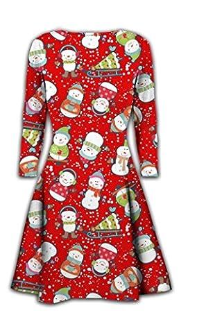 Womens Christmas Swing Dress Girls Gift Candy Ladies Gingerbread Snowman Smock Reindeer Skater Mini Dress Size 8-30 (UK 12-14, Snowman