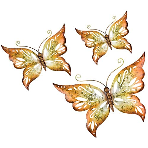 Butterfly Capris (Regal Art & Gift Capri Butterfly Wall Decor (Set of 3) - Amber Wandschmuck, bernsteinfarben)