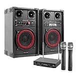 Karaoke-Anlage STAR-Mitte 400 Watt Karaoke Set PA Boxen + Funk Mikrofon (USB-SD-Slot, 100m Mikro-Reichweite, MP3-Bediensektion) schwarz-rot
