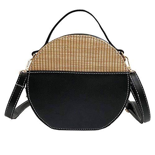hsy Weinlese-Frauen-runde Taschen-Crossbody-Taschen-einfache gesponnene Taschen-Umhängetasche-Strandfest Bimba und Lola (Color : Black)