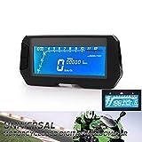 CONRAL Universalmotorrad LCD Digital Geschwindigkeitsmesser Drehzahlmesser, Motorrad Rechteckige LED Drehzahlmesser, Kraftstoff Ganganzeige, KMH/MPH, Fit 12V Motorrad