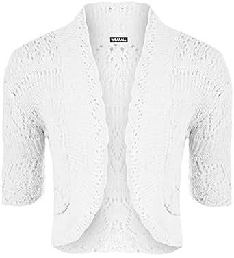 WearAll - Boléro Cardigan Tricoté Crochet à Manches Courtes - Hauts - Femme - Blanc - 42-44