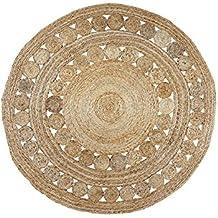 Círculos Yute Alfombra redonda, 150x 150cm