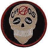 PARCHES - CHAOS Calavera Skull Cráneo - Talla Aprox. 7cm (06024) Trucker De Motero Motociclista Hábito Chaqueta - Aplicación Parches Bordado