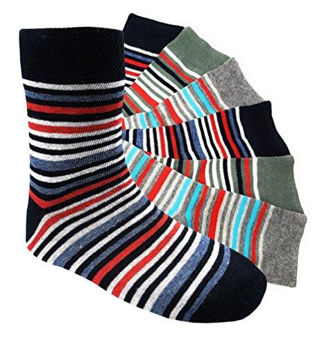 6 Paar Jungen Socken Kinder Strümpfe handgekettelt Spitze ohne Naht Baumwollsocken Ringelsocken Gr. 23-26 (JR 23-26) (Aktive Nahtlose Socken)