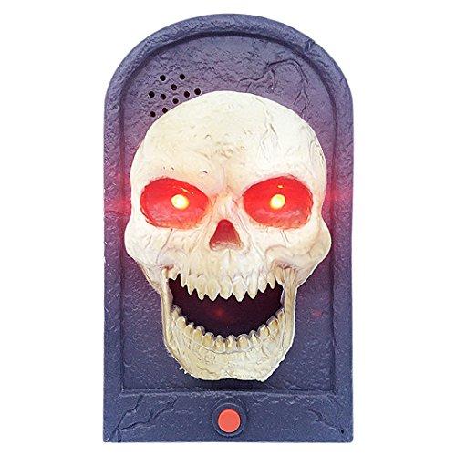 Halloween Schädel Türklingel Geist Maske Augen rote Zunge Taste Halloween Horror Stütze Beängstigend Prop Partei Club (Und Kit Zubehör Make Up Hexe)