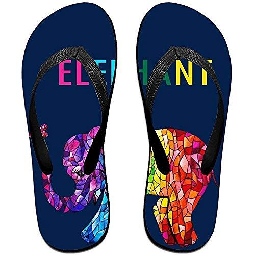 Zapatillas Chanclas Antideslizantes Unisex Elefante Colorido Zapatillas de Playa Frescas Sandalia