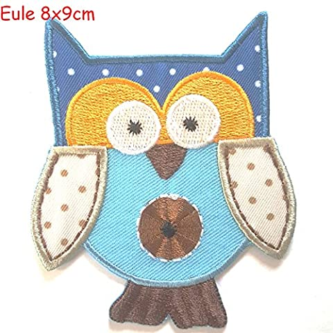 2 iron-on patches set Owl 8x9 and Strawberry 6.5x7.5 -
