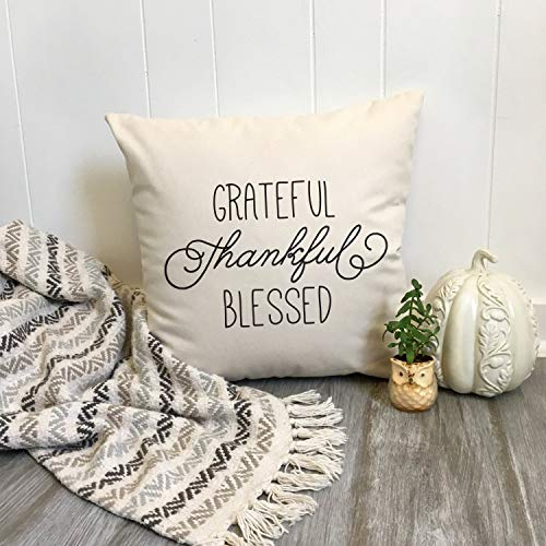 Prz0vprz0v Thankful Throw Pillow Cover, Grateful Blessed Thanksgiving Pillow Cover Fall Home Decor, Handwritten Font, Gift for Friend, Farmhouse Housewarming Gift Square Cushion Case 18 x 18 Inch Short-throw-arm