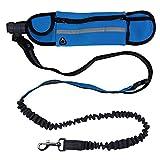 WYXIN Verstellbarer Hundetraktionsgurt mit Wasserdichten Taschen Für Sport-Laufseil,Blue